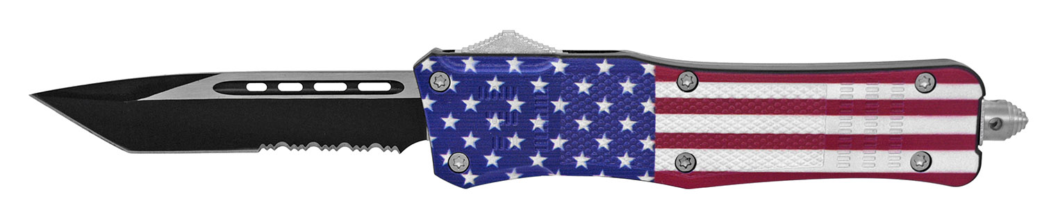 5.25 in Tactical Grip Out the Front Pocket Knife - US Flag