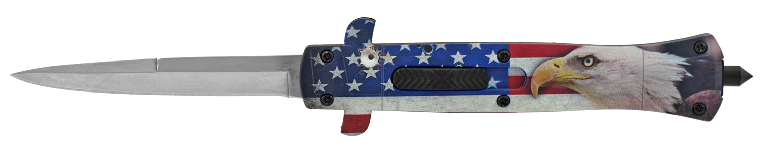 5.5 in Stiletto Out the Front OTF Tactical Folding Pocket Knife - American Eagle Flag