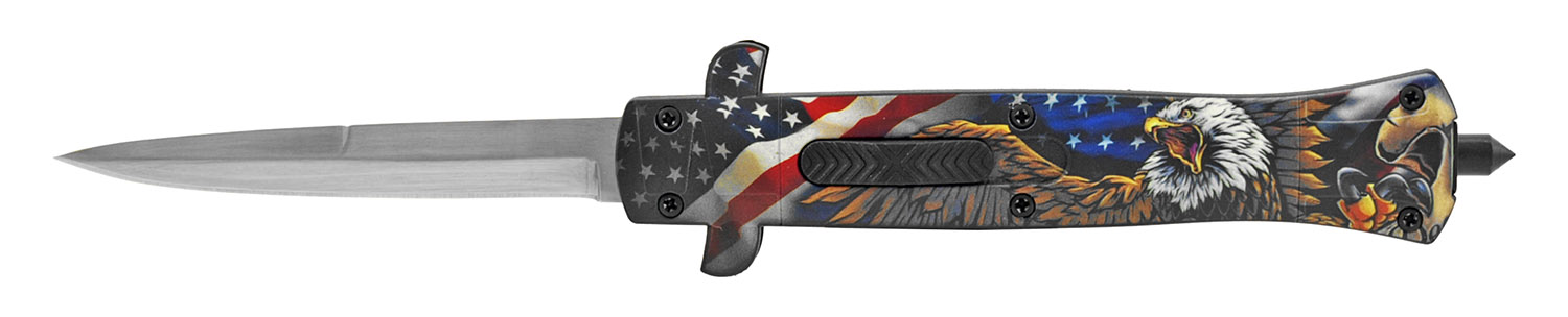 5.25 in Stiletto Out the Front Tactical Pocket Knife - American Eagle Flag