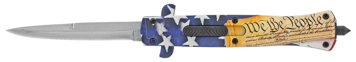 5.5 in Stiletto Out the Front OTF Tactical Folding Pocket Knife - We the People American Flag