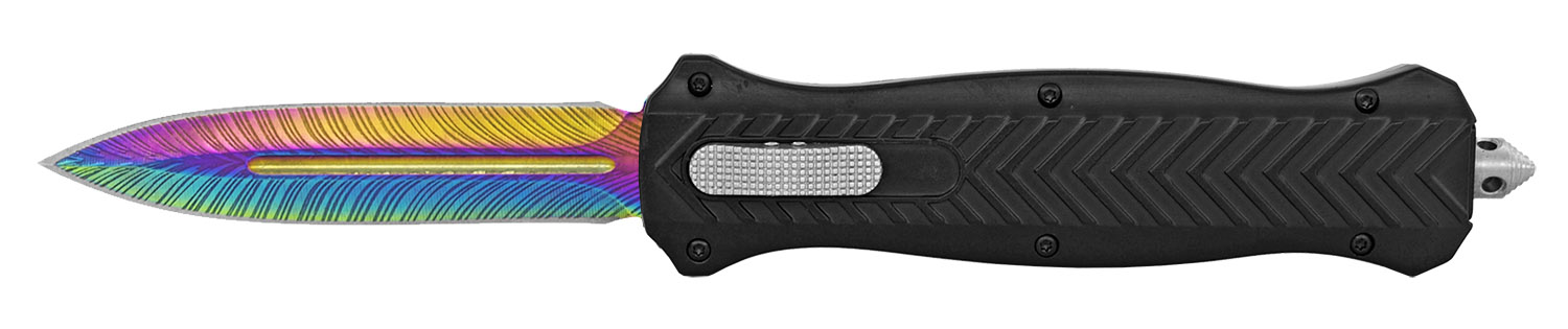 5.25 in Trax Out the Front Pocket Knife - Rainbow Titanium