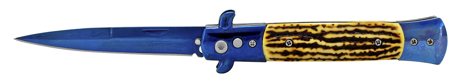 5 in Spring Assisted Switchblade - Blue and Bone
