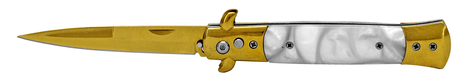 5 in Spring Assisted Switchblade - Gold and Silver