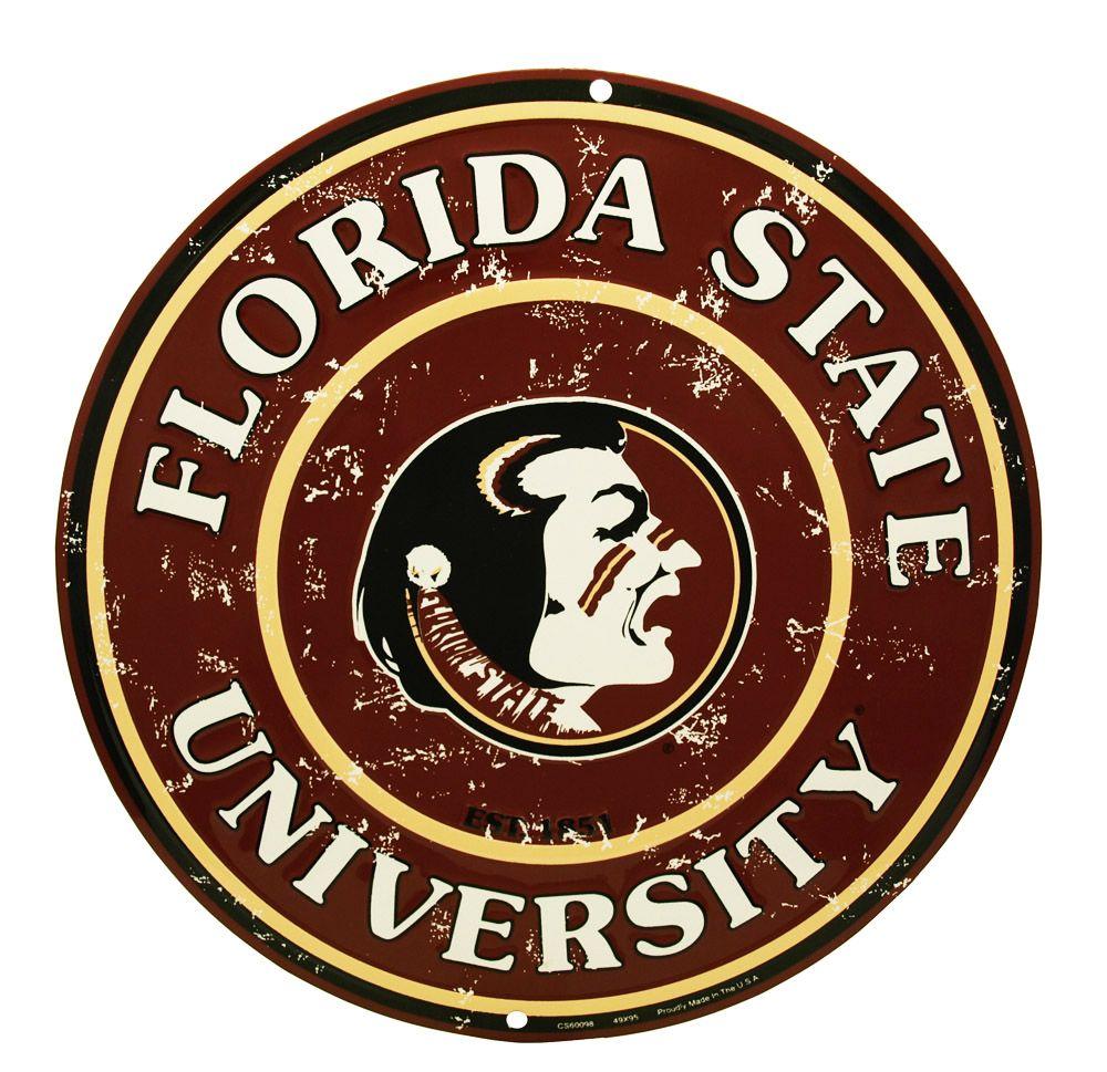 Florida State University Round Tin Sign