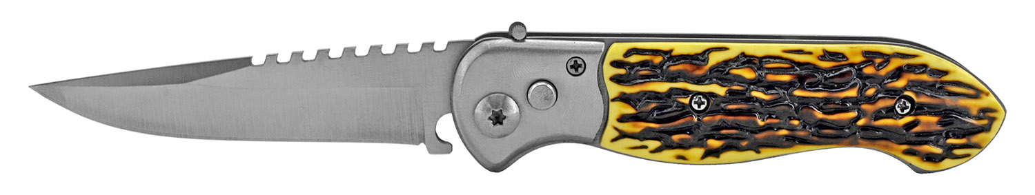 4.5 in Switchblade Folding Pocket Knife - Bone
