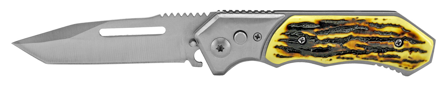 4.5 in Folding Knife Switchblade - Bone