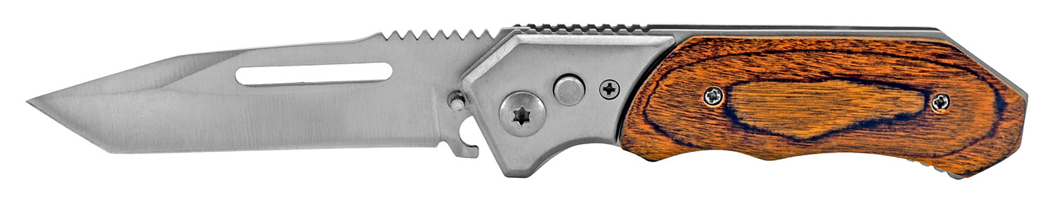 4.5 in Folding Knife Switchblade - Wooden