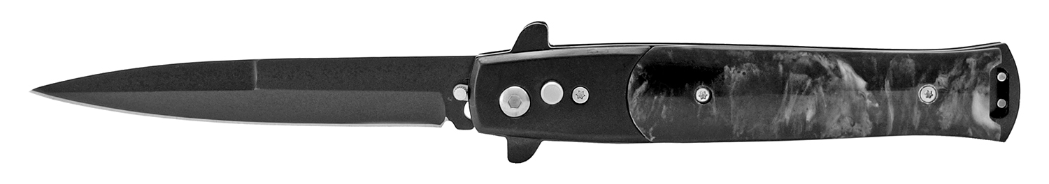 4.75 in Push Button Switchblade Pocket Knife - Black