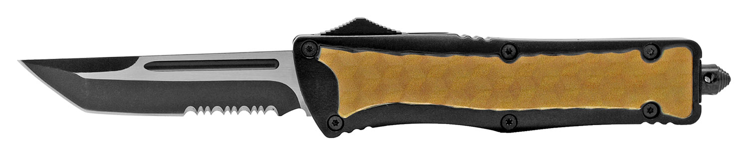 5.5 in Heavy Duty Out the Front Knife - Brown and Black