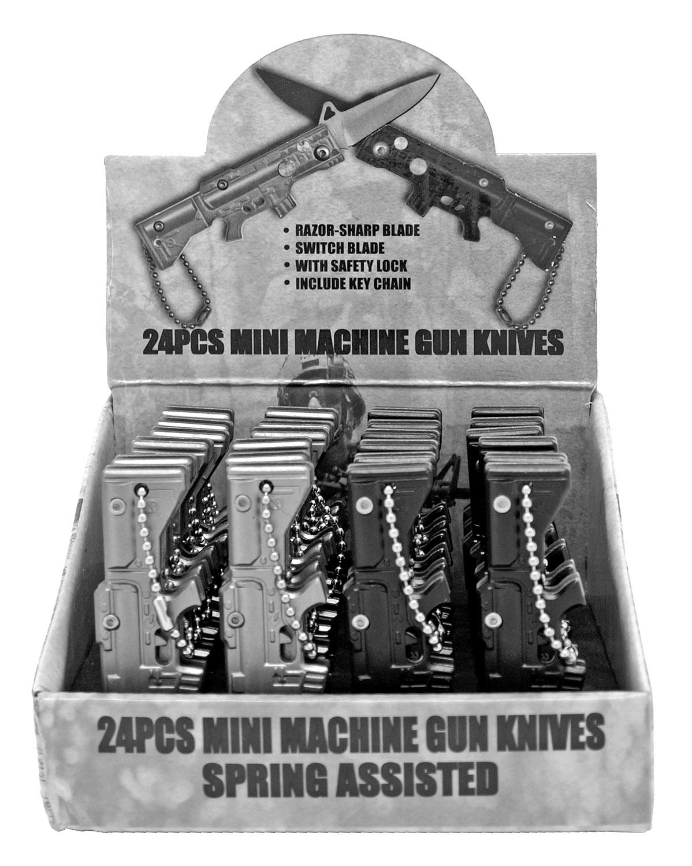 24 pc mini machine gun switchblade knife display set