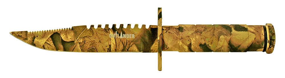 8.5 in Survival Knife - Woodland Camo