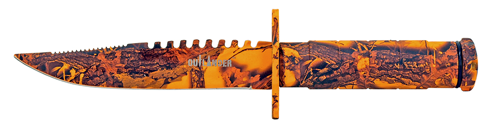 8.5 in Survival Knife - Orange Camo