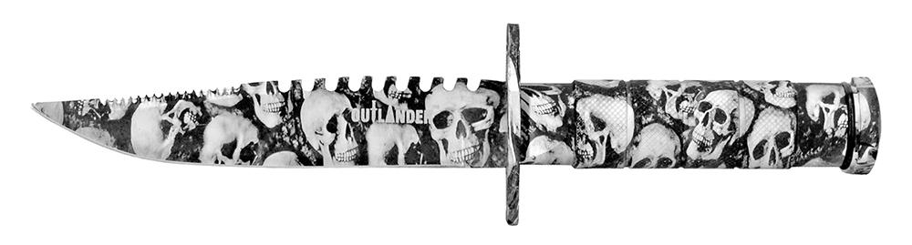8.5 in Survival Knife - Skull Camo