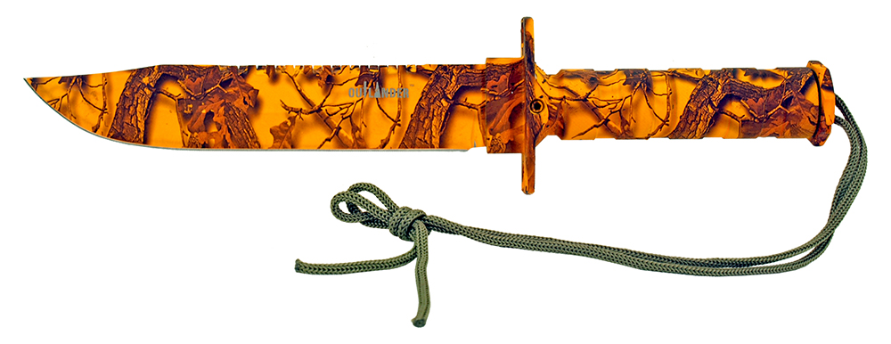 13.75 in Survival Knife - Orange Camo