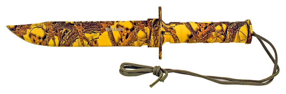 13.75 in Survival Knife - Yellow Camo