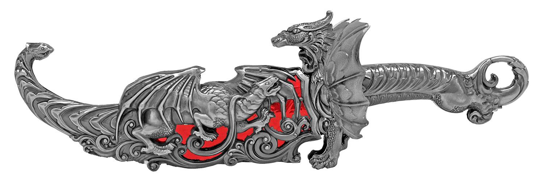 16.13 in Heavy Duty Dragon Display Dagger - Red