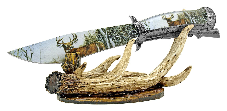 12.25 in Hunting Antler Knife Display - Deer