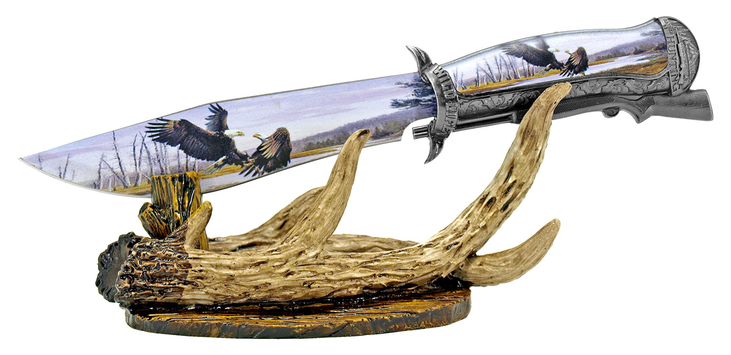 12.25 in Hunting Antler Knife Display - Eagle