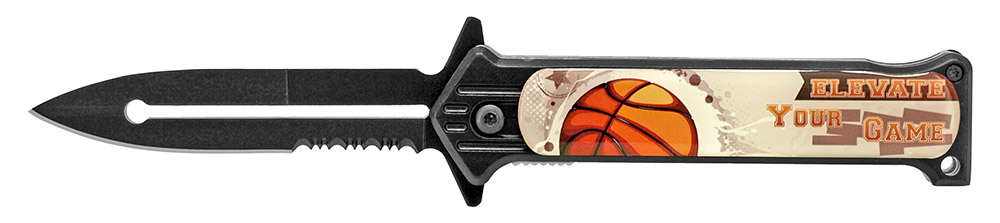 4.5 in Spring Assisted Stiletto Style Flip Knife - Basketball