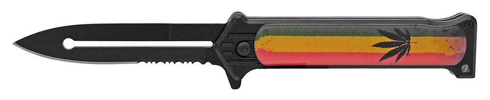 4.5 in Spring Assist Folding Knife - Rasta Leaf Flag