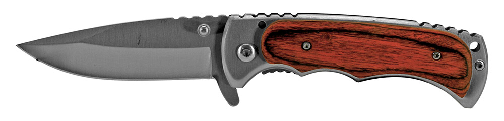 4 in Spring Assisted Folding Knife - Wooden