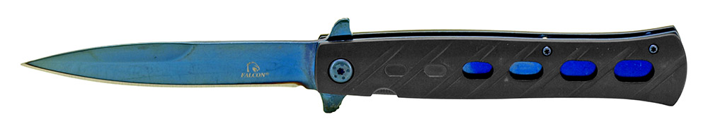 5 in Stiletto Style Folding Knife - Black and Blue