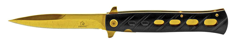 5 in Stiletto Style Folding Knife - Black and Gold