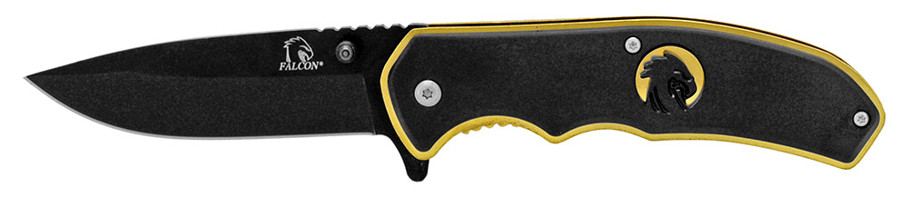 4.5 in Silhouette Spring Assisted Folding Knife - Black and Gold