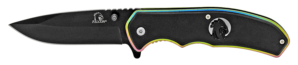 4.5 in Silhouette Spring Assisted Folding Knife - Black Rainbow