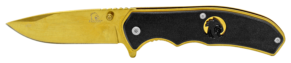 4.5 in Silhouette Spring Assisted Folding Knife - Gold