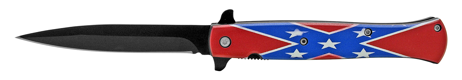 5 in Spring Assisted Stiletto Knife - Confederate Flag