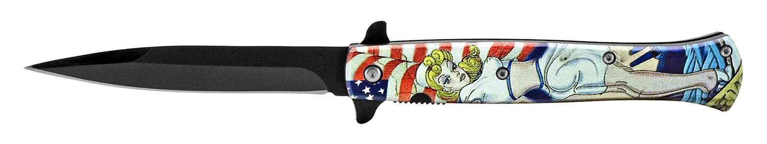 5 in Spring Assisted Stiletto Knife - American Pin Up
