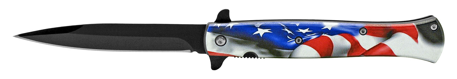 5 in Spring Assisted Stiletto Knife - US Flag