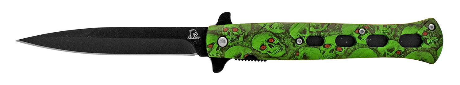 5 in Flip Open Spring Assisted Stiletto Knife - Green Skull Camo