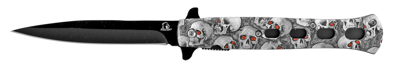 5 in Flip Open Spring Assisted Stiletto Knife - White Skull Camo