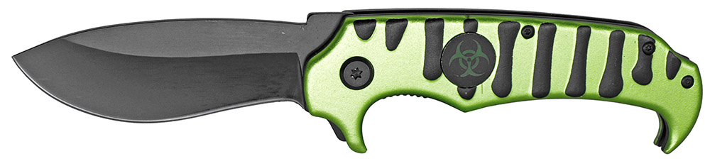 4.75 in Spring Assist Radioactive Folding Knife - Green and Black