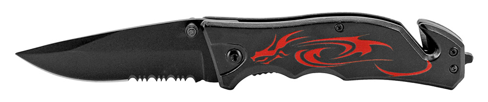 4.5 in Tribal Dragon Tactical Folding Knife - Black and Red