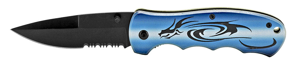 4.5 in Tribal Dragon Folding Knife - Blue and Black