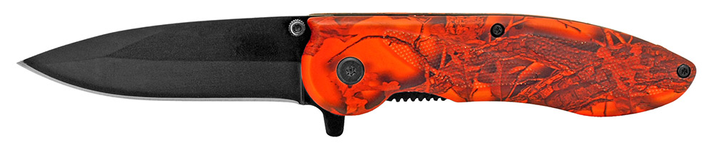 4.5 in Spring Assisted Pocket Folding Knife - Orange Camo