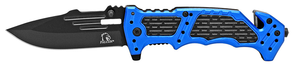4.5 in Spring Assisted Folding Rescue Knife - Blue
