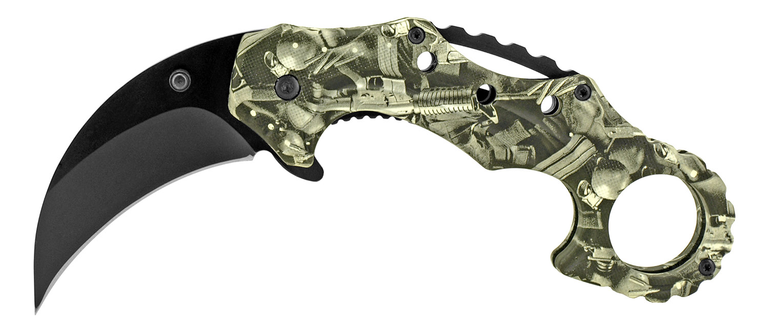4.75 in Spring Assisted Karambit Fighting Knife - Gun Camo
