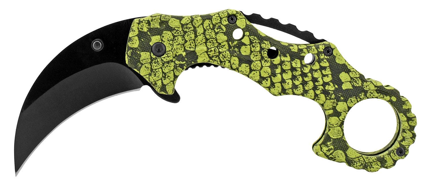 4.75 in Spring Assisted Karambit Fighting Knife - Snake Camo