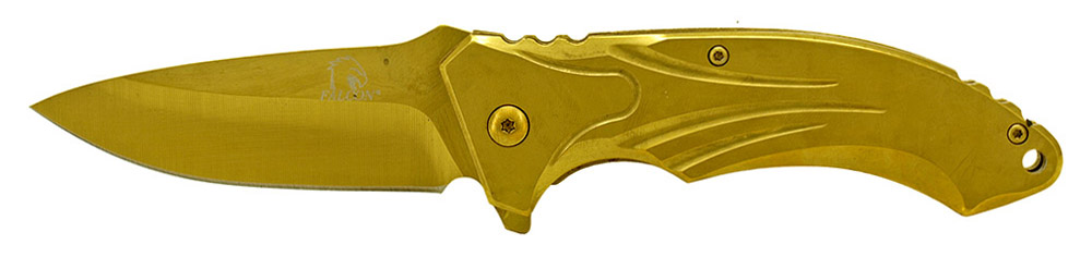 4.75 in Spring Assisted Stainless Steel Folding Knife - Gold