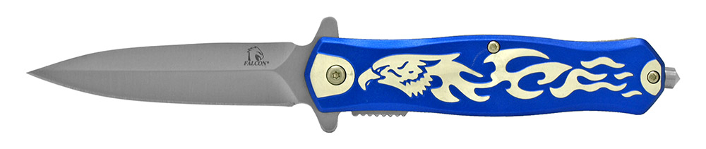 4.75 in Falcon Spring Assisted Folding Knife - Blue
