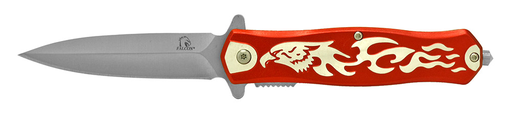 4.75 in Falcon Spring Assisted Folding Knife - Red