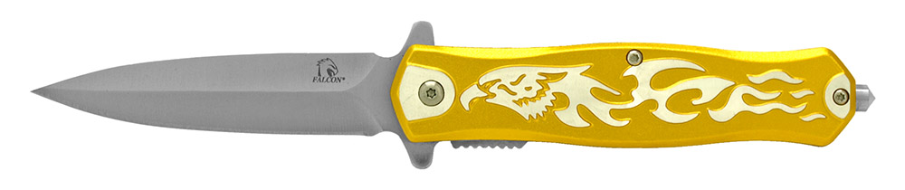 4.75 in Falcon Spring Assisted Folding Knife - Yellow