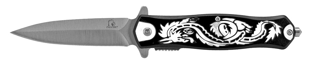 4.75 in Spring Assisted Dragon Folding Knife - Black