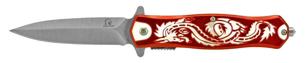 4.75 in Spring Assisted Dragon Folding Knife - Red