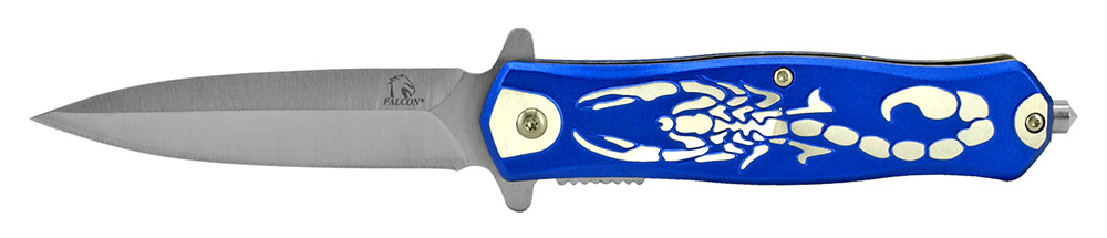 4.75 in Spring Assisted Scorpion Folding Knife - Blue