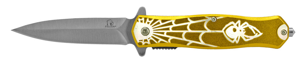 4.75 in Spring Assisted Spyder Folding Knife - Yellow